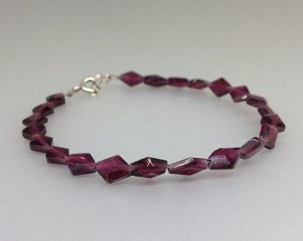 Garnet bracelet wit Sterling silver clasp - gift idea for valentine's day by gemorydesign. Explore more products on http://gemorydesign.etsy.com