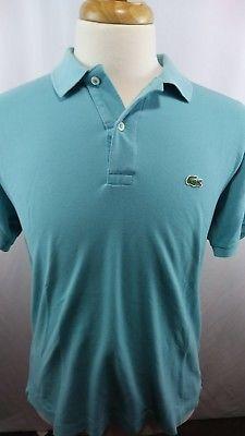 Lacoste aqua Blue Men's golf Polo shirt size 6 XL short sleeve 100% cotton