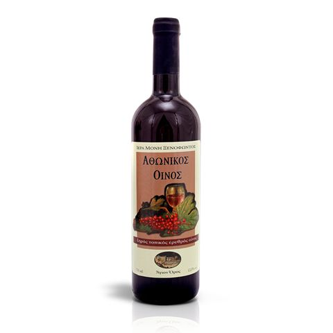 Red wine - Merlot is an organic, red, table wine with the signature of the Xenophontos Monastery - Mount Athos.