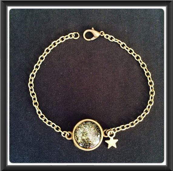 Bracelet cabochon Constellation chaine couleur bronze de la boutique Crystalglamchic sur Etsy