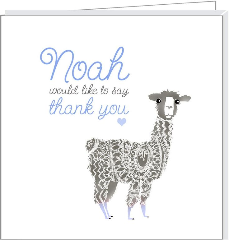 Personalised thank you cards with cute Llama illustration