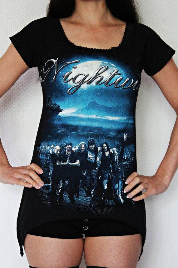 Nightwish Off Shoulder tunic top gothic metal clothing alternative apparel rocker chic altered band tee t-shirt