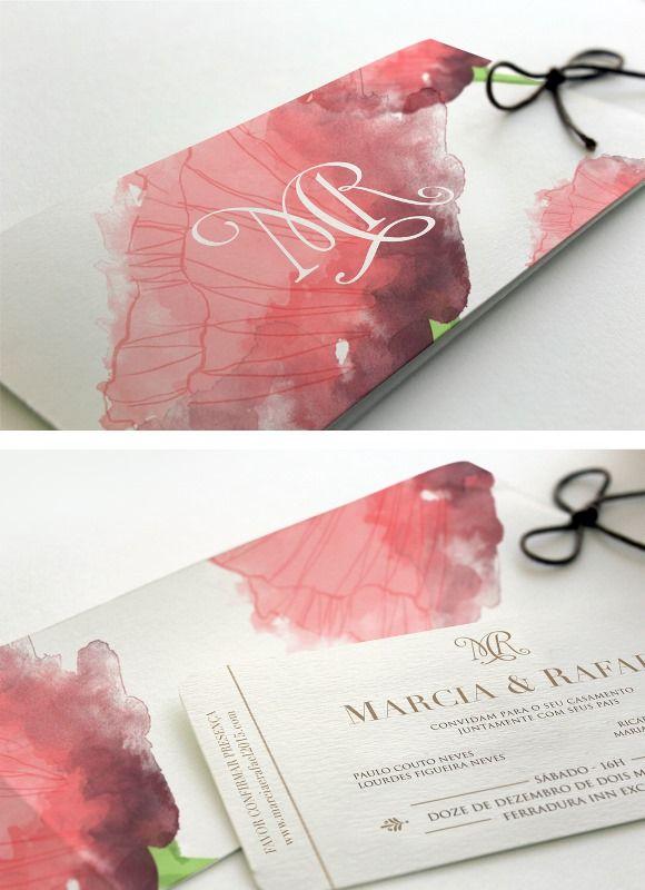 Convite de casamento com aquarela de flores vermelhas - Patricia Koeler Identidade Visual