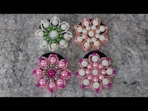 Como fazer: Flor de Pérolas e Costurar no Elástico de Cabelo - Adriana Valério - YouTube