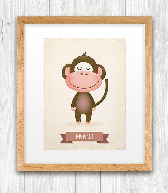 Monkey art print nursery illustration 5x7in by IreneGoughPrints, €9.95