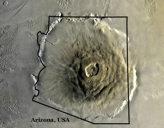 Shown here is Olympus Mons, the largest volcano and the largest mountain in the solar system.  Here it is compared to the state of Arizona.  This is obviously one big volcano.  -- Marin Tchen