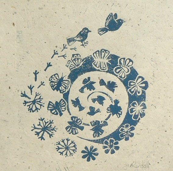 Air Changes Lino cut print by Jane Kendall