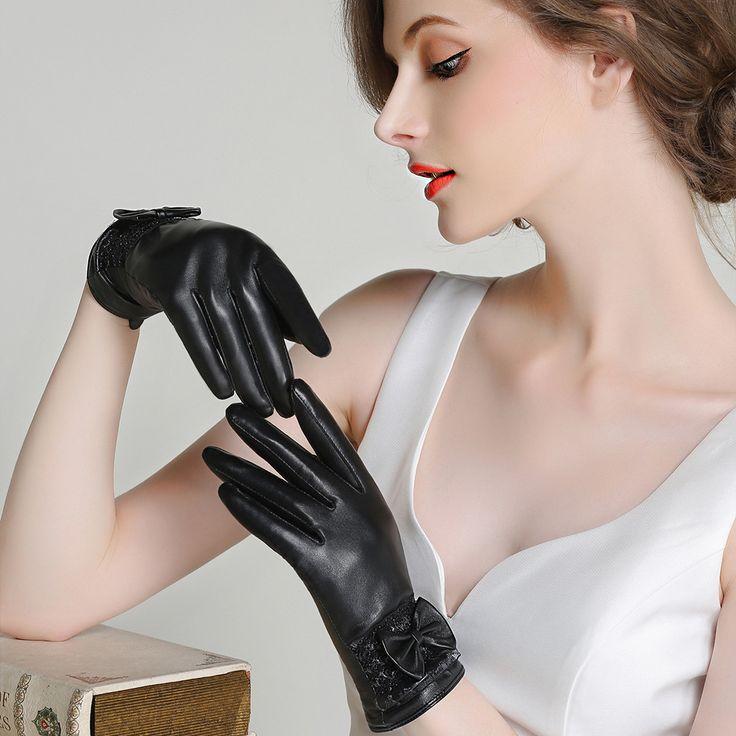 Genuine Leather Gloves Women Winter Plus Velvet Thicken Fashion Black Wrist Bow knot Driving Touchscreen Sheepskin Gloves F8010