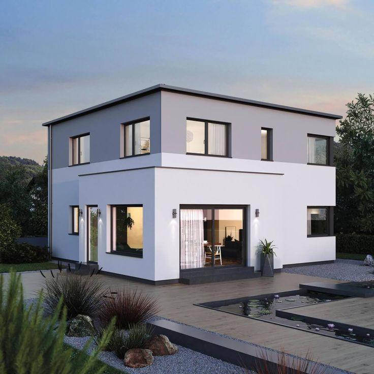 Kleine Stadtvilla Neubau modern mit Flachdach Architektur