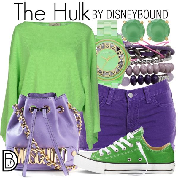 The Hulk by leslieakay on Polyvore featuring KI6? Who Are You?, J Brand, Converse, Moschino, MARC BY MARC JACOBS, Stella & Dot, Pieces, disney, marvel and disneybound