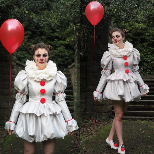 Pennywise Costume dress IT 2017 clown costume, cosplay. Women's sizes... ($258) ❤ liked on Polyvore featuring costumes, clown costumes, lady costumes, womens costumes, womens clown halloween costumes and ladies costumes