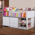Loft Bed with Desk and Storage White Twin Girl Teens Versatile Bedroom Furniture