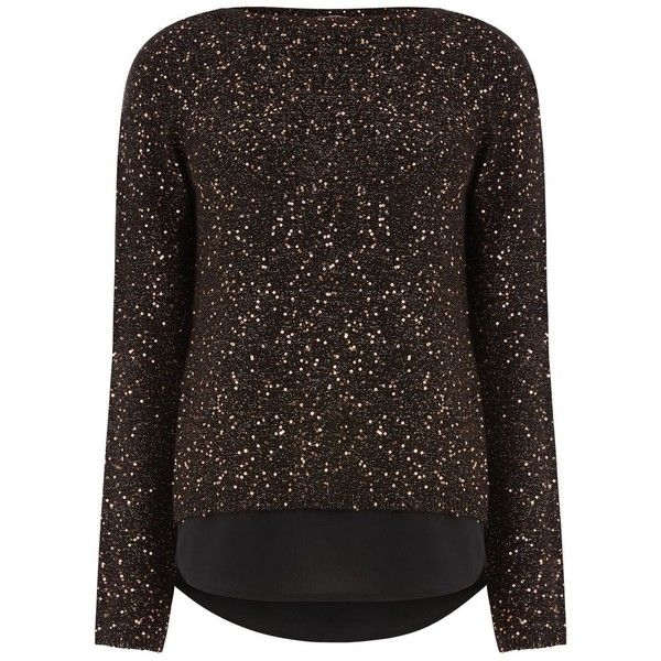 Oasis Sequin Yarn Woven Mix Knit (110 TND) ❤ liked on Polyvore featuring tops, sale women tops, knit top, oasis tops, sparkly tops, brown top and sparkly sequin top