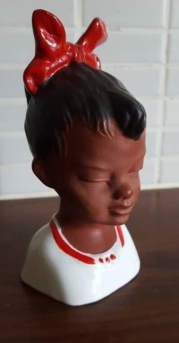 Annons på Tradera: Cortendorf figurin flickansikte med hästsvans röd rosett 50 tal RETRO Rockabilly