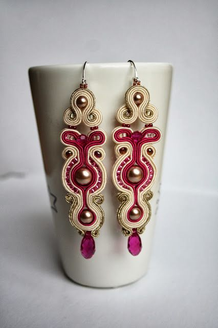 Fuchsia gold and ecru soutache bridal earrings