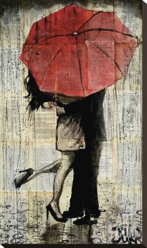 The Red Umbrella Stretched Canvas Print by Loui Jover at Art.com