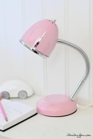 Pink Luxo! Ok, not really Luxo, but an adorable swan neck desk lamp.