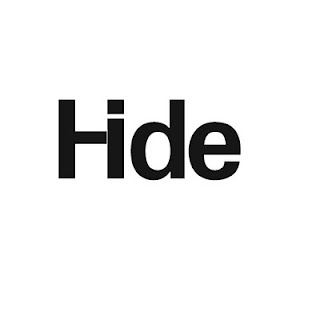 typography, this is a very clever piece. The 'i' is hidden in the 'H' to show the word hide