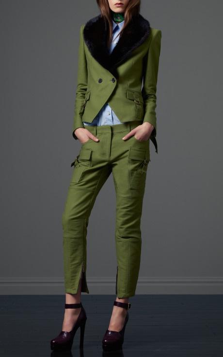 Derek Lam Pre-Fall 2012: Near Fal 2012, Army Green, Derek Lamb, Green Suits, Lam Pre Fal, I Derekla, Fall Fashion, Prefal, Fur Collars