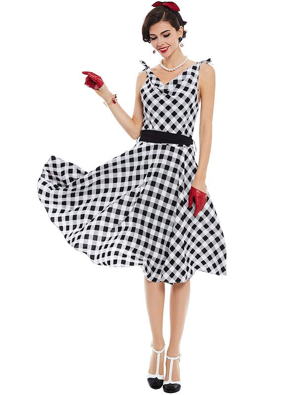 Sisjuly women vintage dress 1950s pin up style retro plaid patchwork dress summer sashes sleeveless v neck party vintage dresses