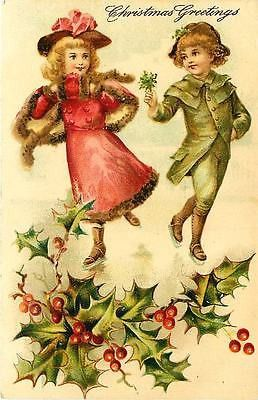 Christmas 1908 Children Ice Skating Victorian Clothes Antique Vintage Postcard