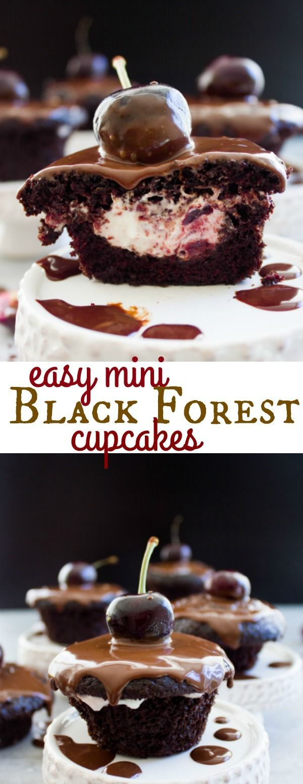 Easy Mini Black Forest Cupcakes. Imagine this crowd pleaser classic made easier, quicker, lighter, and still just as DIVINE! It's a hit at every occasion--get the easy step by step recipe and make it now! Perfect Holiday table dessert too! www.twopurplefigs.com