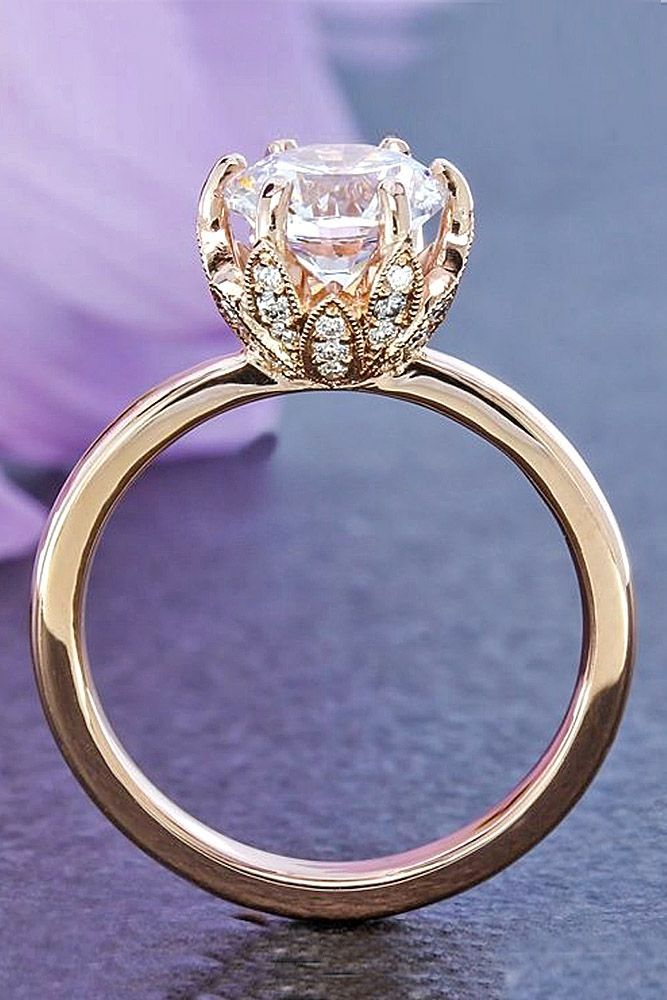 18 incredibly beautiful diamond engagement rings diamond engagement rings rose gold floral diamond ring - Wedding Rings Pinterest