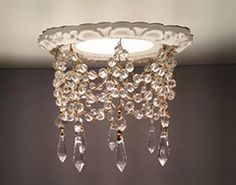 """Beaux-Arts Classic Products 3-3/4"""" Victorian recessed light trim with 1-1/5"""" clear U drops and 8mm Czech crystal chain"""