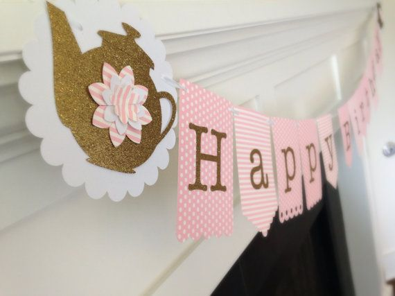 Set of TWO Personalized Pink and Gold Vintage Tea Party Happy Birthday Banner with name: Little Girl, Bridal Shower, 1st birthday