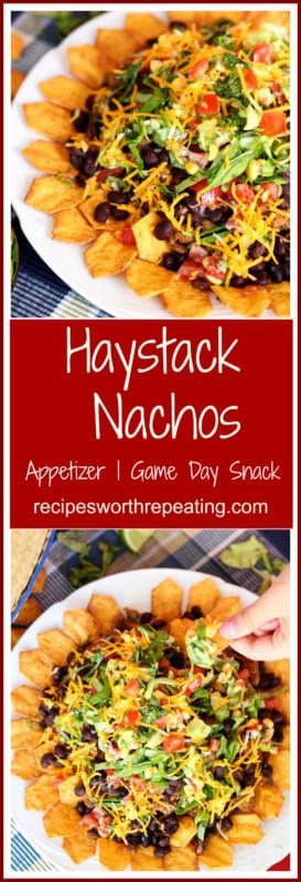 Flavorful, easy, and gluten-free, these Haystack Nachos make for the perfect snack, great for game day munchies, appetizer or dinner meal! You will love them! #superbowl #nachos #haystack #appetizer #snacks | recipesworthrepeating.com