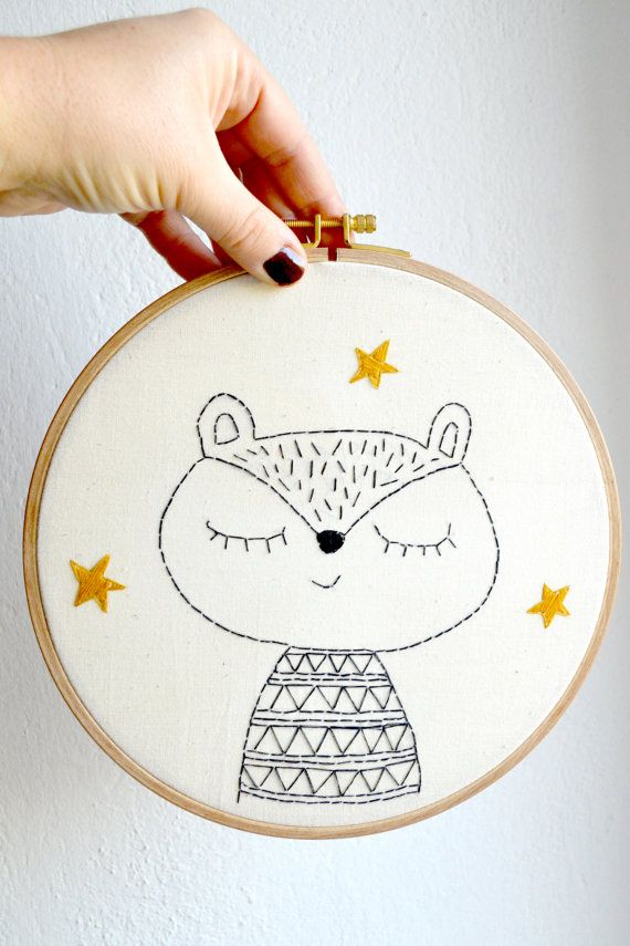 Baby gift/ Hoop embroidery/ Squirrel with by MillieandUbu on Etsy