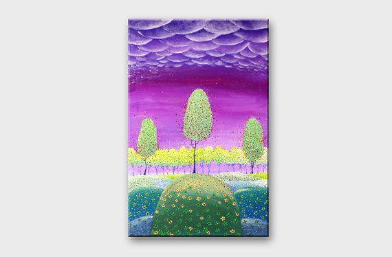 Canvas painting Purple green canvas art Modern art on by artbyasta