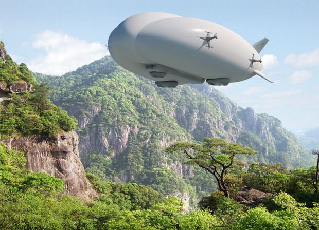 Inflatable airship for planet exploration.   Inflatable cells stored around the rocket engine are inflated to turn spacecraft into a propeller-driven airship, powered by photovoltaic panels.