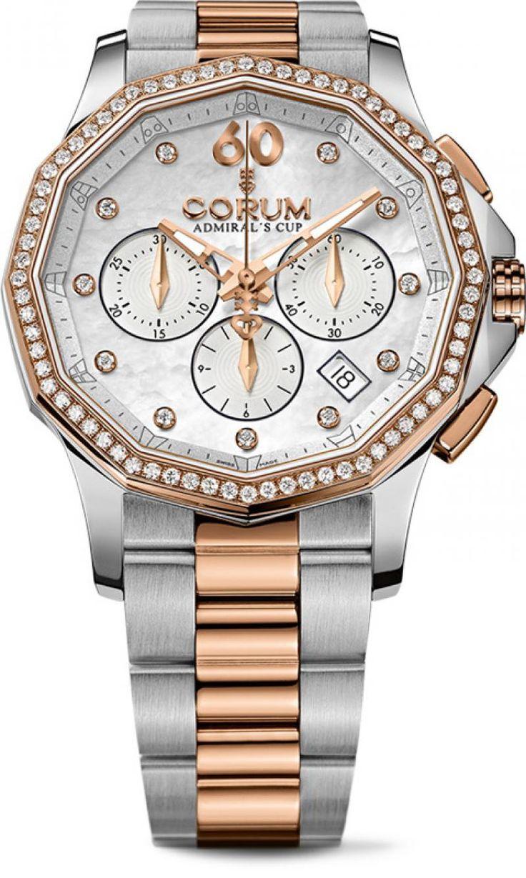 Corum 132.101.29/V200 PN09 Admiral`s Cup Legend 38 Chronograph - швейцарские женские часы - наручные, золотые с бриллиантами, стальные, белые