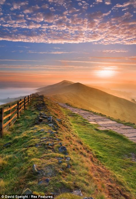 : Losehill Pike and the Great Ridge from Mam Tor, Derbyshire, UK