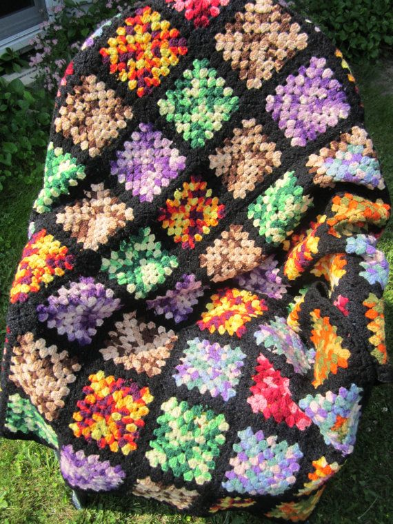 Granny square afghan multicolor with black accent by AuntNansAttic, $40.00