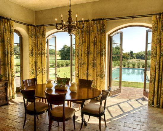 Charming French Door Curtain Rod Designs Mediterranean Dining Room Beautiful Doors And