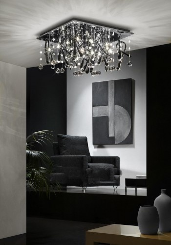 Crazzy Siyah Beyaz Kristal Tavan Aydınlatması