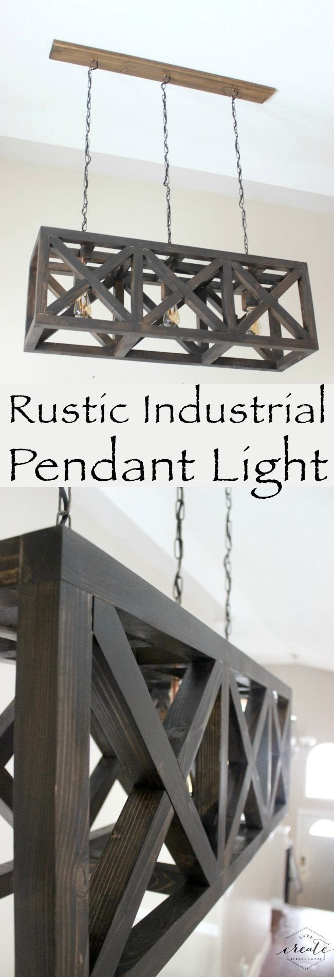 Rustic Industrial Pendant Light  with free design plans for this beautiful DIY light fixture!!
