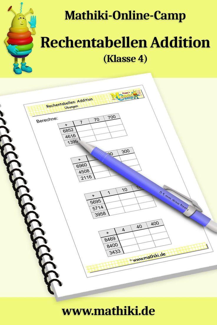 Rechentabellen Addition bis 10000 (Klasse 4) - mathiki.de ...