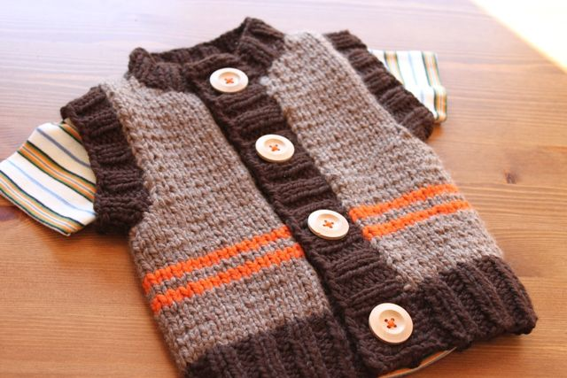 The Brown Stitch | Easy Baby Knitting Vest | Chunky Monkey
