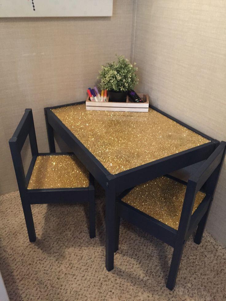 Children's table - IKEA LATT, glitter epoxy table - IKEA hack