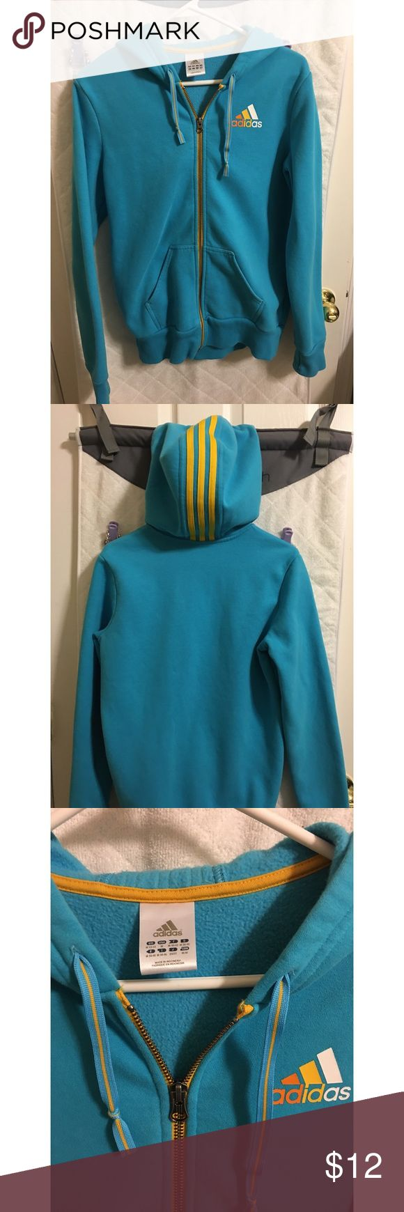Adidas Zip-Up Hoodie ▪️Blue and orange striped zip up hoodie ▪️Has thumb holes in sleeves  ▪️Adidas logo on front ▪️Worn twice ▪️Has two front pockets as well ▪️Nice soft material adidas Jackets & Coats