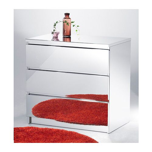 Malm 3 Drawer Chest Mirrored With Integrated Damper