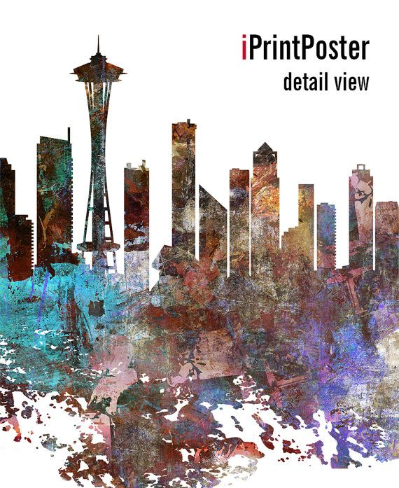 Seattle skyline Seattle cityscape Seattle by iPrintPoster on Etsy