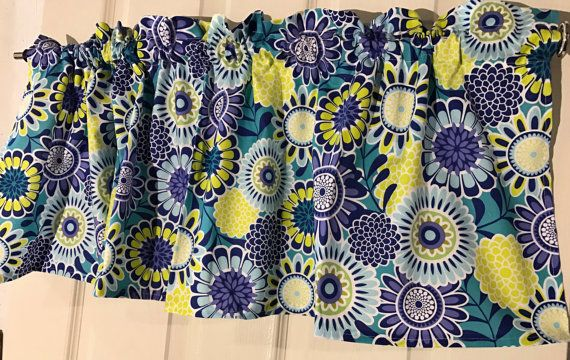 Royal blue and yellow circle flower retro curtain valance