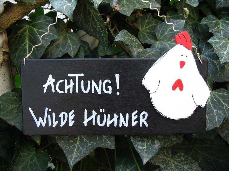 Türschilder - Türschild 'Achtung! Wilde Hühner'  - ein Designerstück von herzallerliebst-wohnaccessoires bei DaWanda
