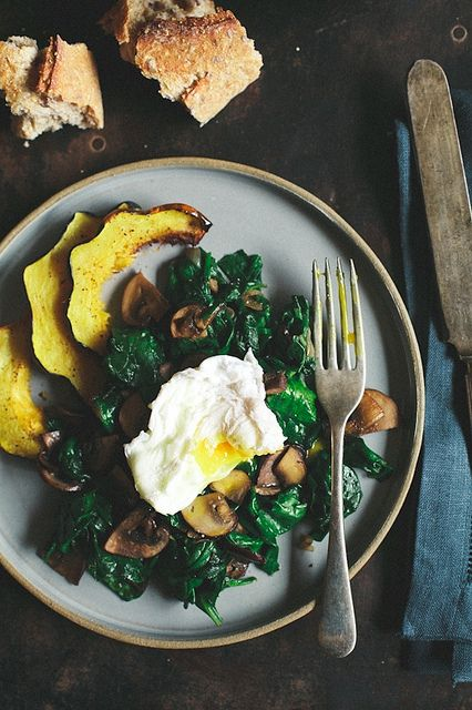 Poached Eggs with Sauteed Spinach & Mushrooms | Tartelette
