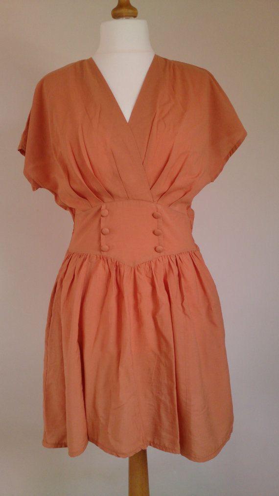 Vintage 1940s Style Orange Tea Dress. by Stajka on Etsy, £20.00