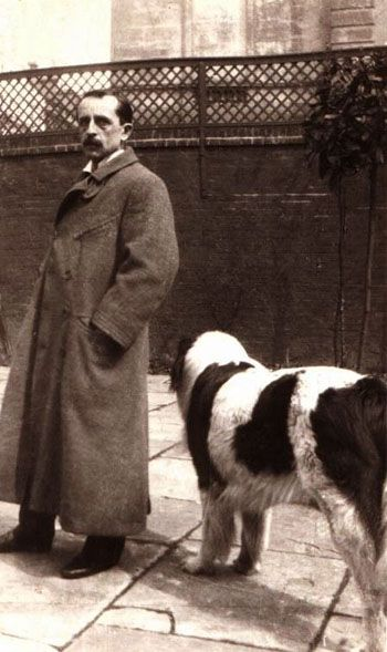"""J.M. Barrie"" (Sir J.M. Barrie, Bt) born James Matthew Barrie, May 9,1860, Kirriemuir, Angus, Scotland and died June 19,1937, London, England at age 77. Scottish novelist and playwright and author behind ""Peter Pan"".  Photo with the real ""Nana""."
